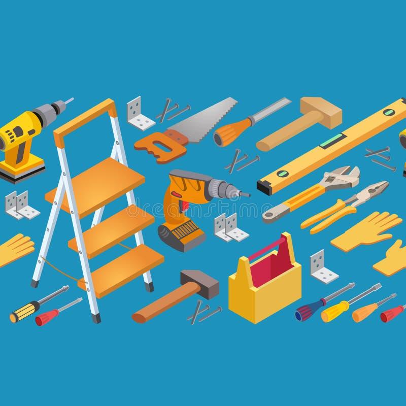 Bau bearbeitet nahtloses Muster Isometrischer Vektorsatz Instrumente stock abbildung