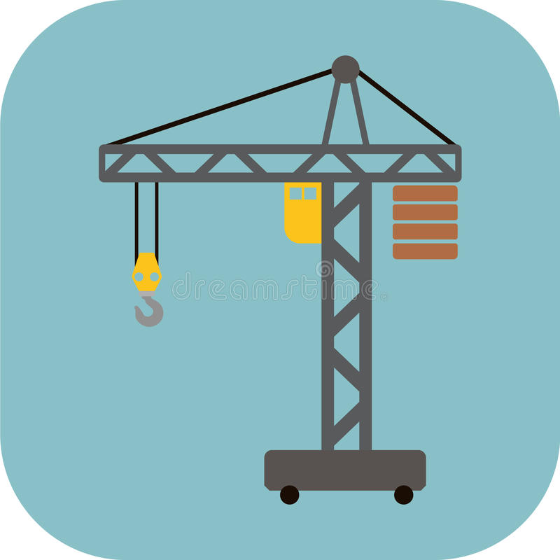 Bau Crane Flat Icon lizenzfreie stockfotografie