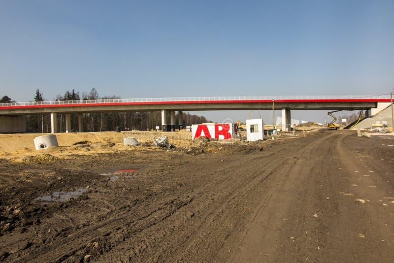Bau der Autobahn A1 in Polen lizenzfreie stockfotos