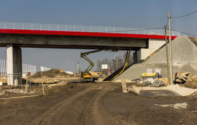 Bau der Autobahn A1 in Polen lizenzfreies stockbild