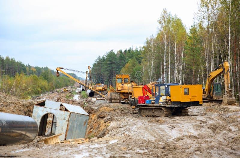 Bau der Erdgasleitung lizenzfreies stockbild