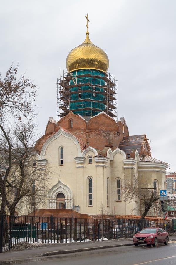Bau der Kathedrale von St. Andrei Rublev in Moskau-Stadtbezirk Ramenki stockfotos