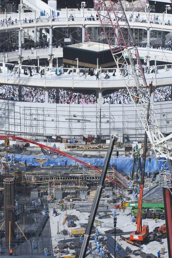 Bau des Al--Masjidals-c$haram um Al Kaaba lizenzfreie stockfotos