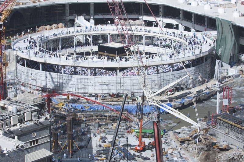 Bau des Al--Masjidals-c$haram um Al Kaaba lizenzfreies stockbild