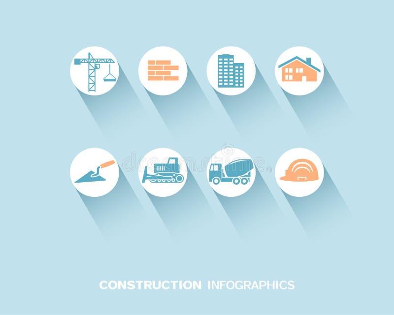 Bau infographic mit den flachen Ikonen eingestellt lizenzfreie abbildung