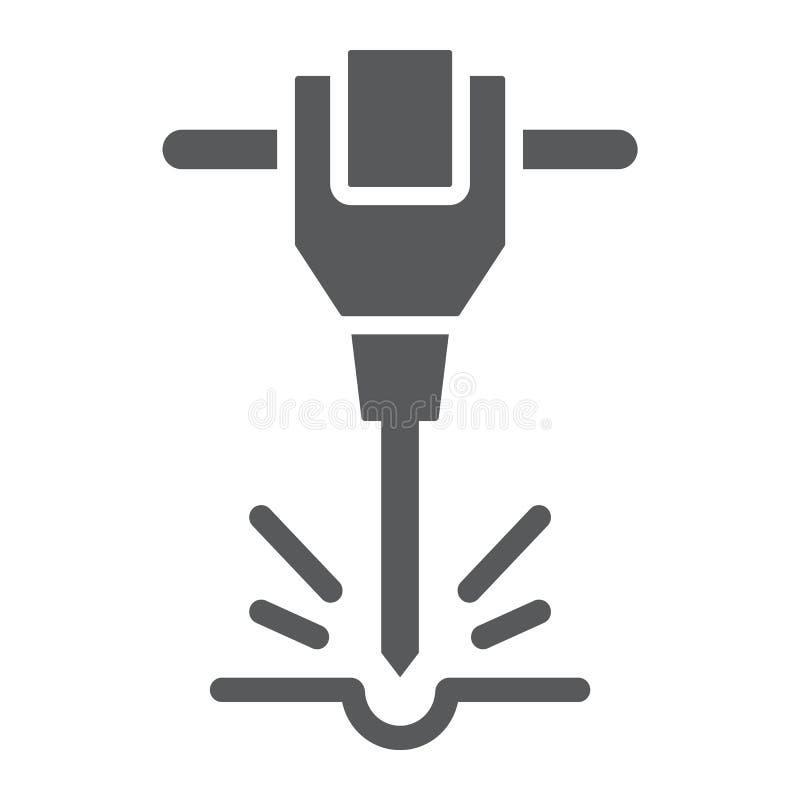 Bau Jackhammer Glyphikone, Werkzeug und Reparatur, Zeichen des pneumatischen Hammers, Vektorgrafik, ein festes Muster vektor abbildung