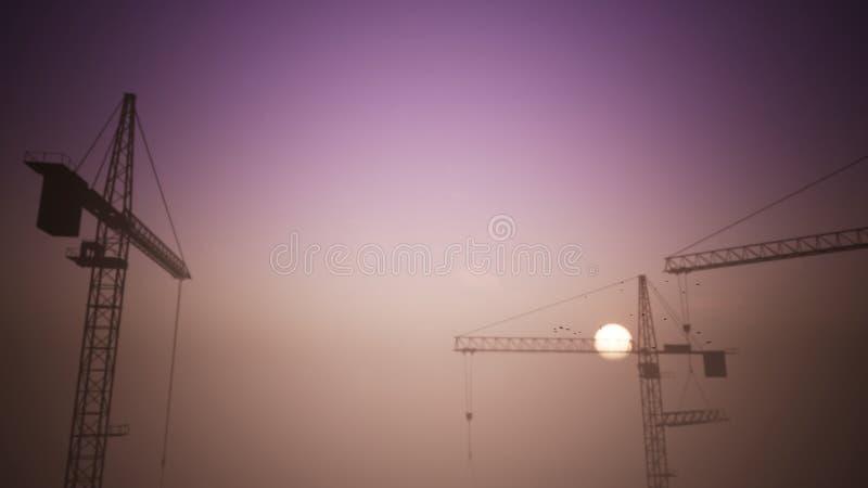 Bau-Kräne in der Sonnenuntergang-Szene mit dem Überschreiten von flachen 1 stock abbildung