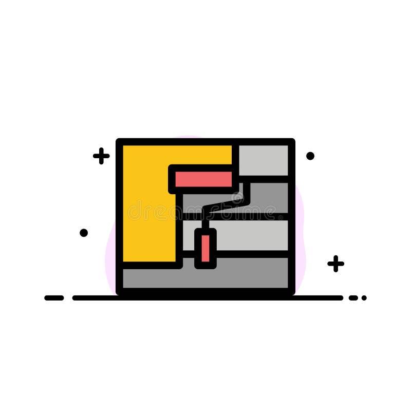 Bau, Malerei, Rolle, Werkzeug-Geschäfts-flache Linie füllte Ikonen-Vektor-Fahnen-Schablone vektor abbildung