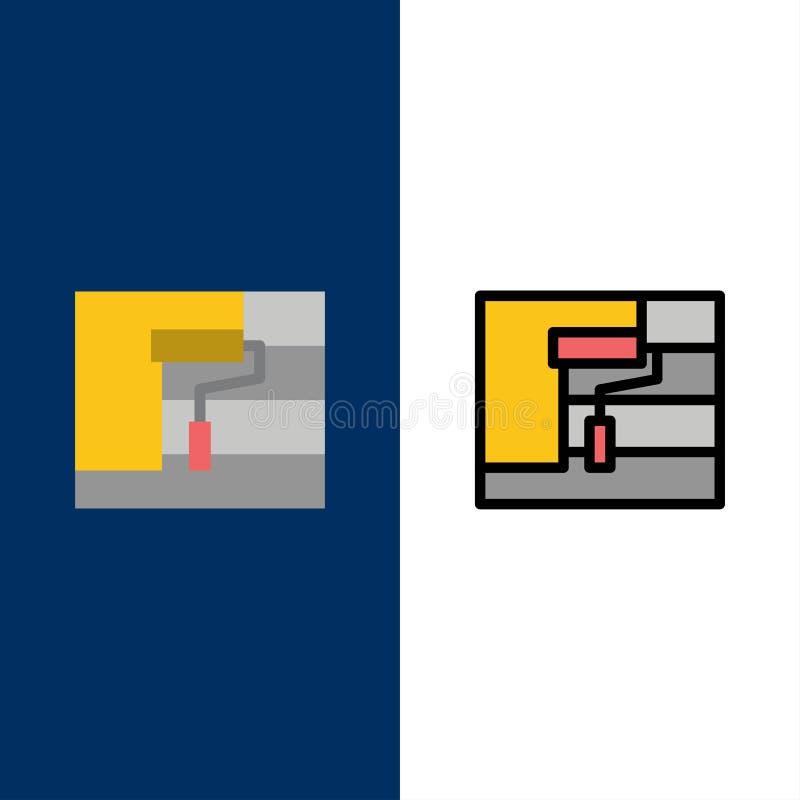 Bau, Malerei, Rolle, Werkzeug-Ikonen Ebene und Linie gefüllte Ikone stellten Vektor-blauen Hintergrund ein vektor abbildung