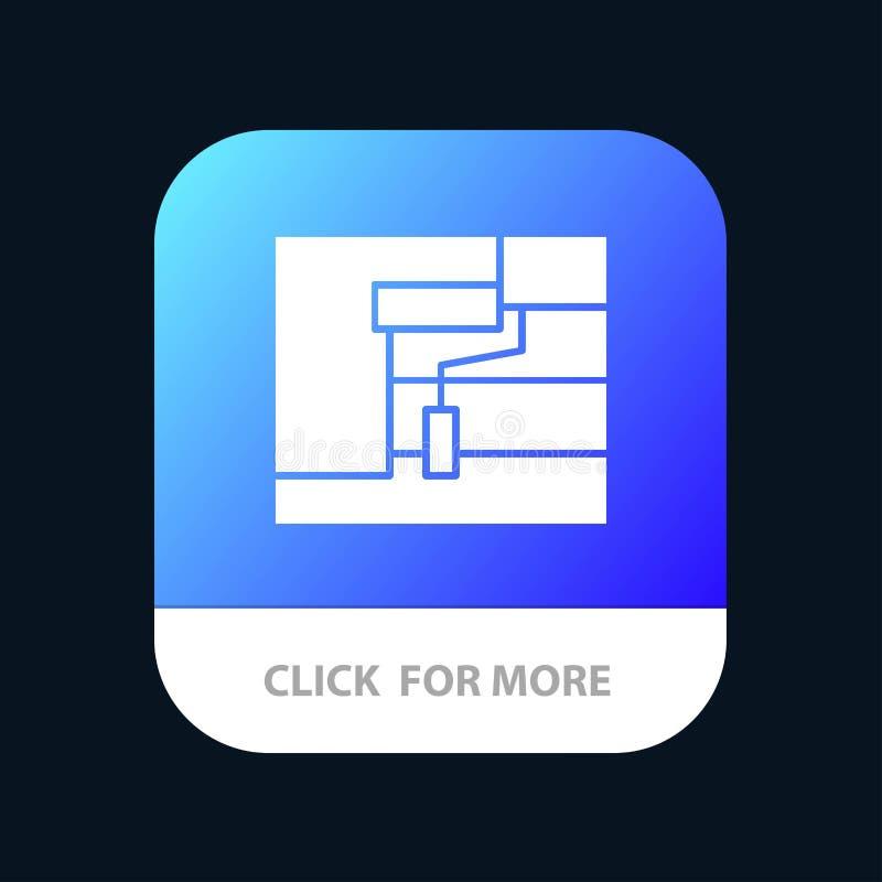 Bau, Malerei, Rolle, Werkzeug mobiler App-Knopf Android und IOS-Glyph-Version stock abbildung