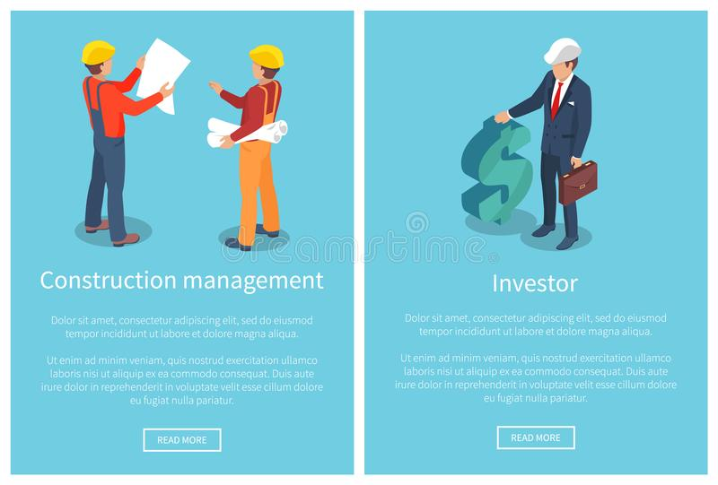 Bau-Management-Seiten-Vektor-Illustration stock abbildung