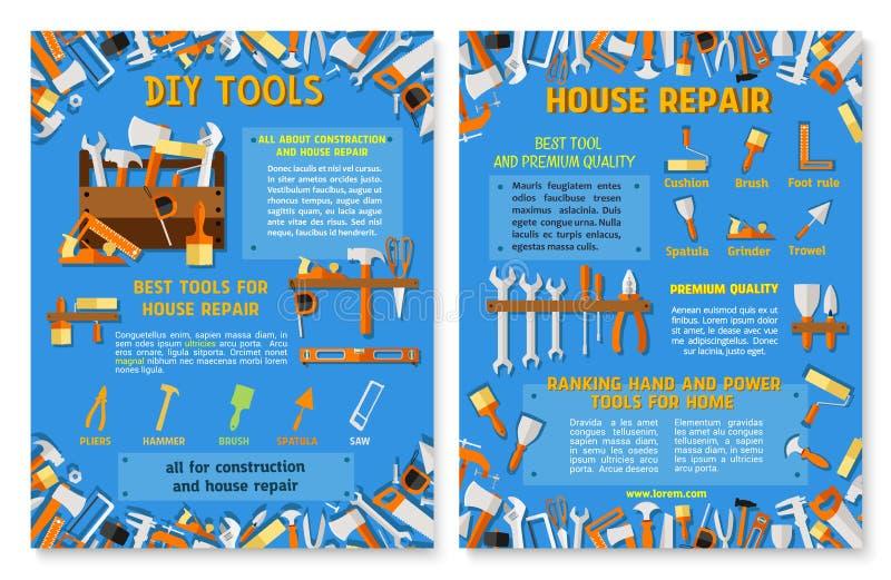 Bau- und Hausreparaturarbeitswerkzeug-Plakatsatz stock abbildung