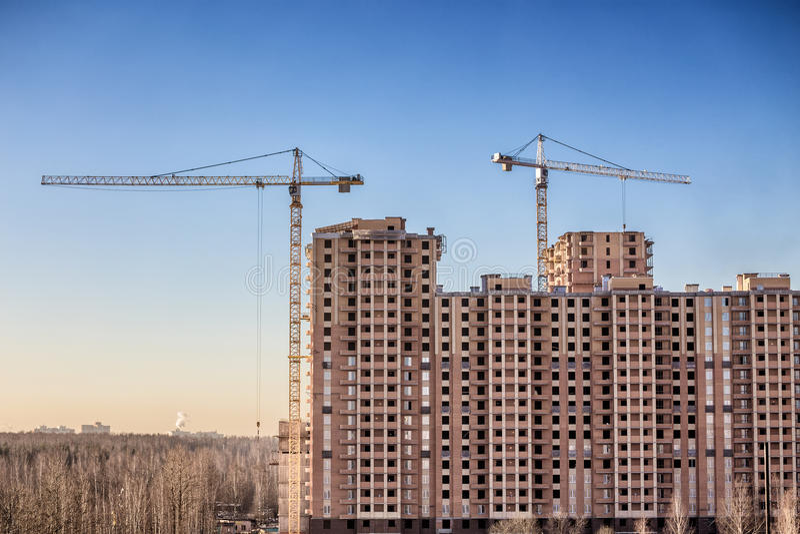 Download Bau Von Neuen Häusern, St Petersburg, Russland Stockfoto   Bild  Von Eigentumswohnung,