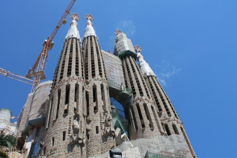 Bau von Sagrada Familia in Barcelona lizenzfreie stockbilder