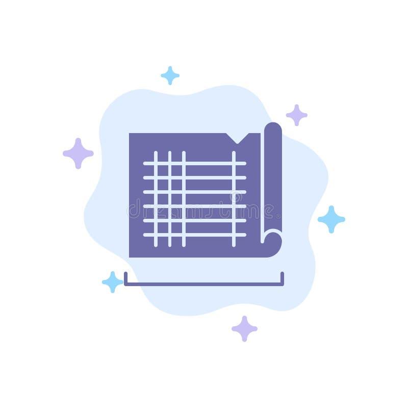 Bau, zeichnend, Haus, Karten-blaue Ikone auf abstraktem Wolken-Hintergrund stock abbildung