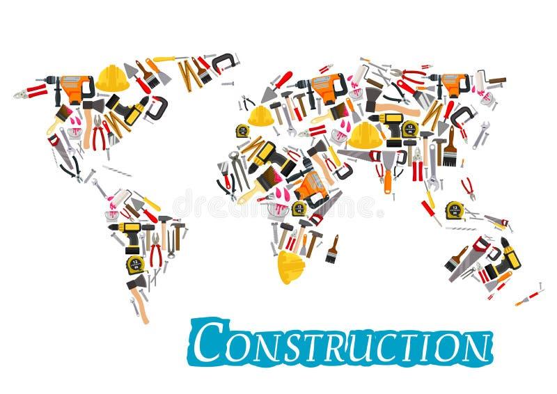 Bauarbeit bearbeitet Vektorweltkarte lizenzfreie abbildung