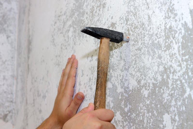 Bauarbeit, ein Hammer hämmert einen Dübel in die Wand, Nahaufnahme stockbild