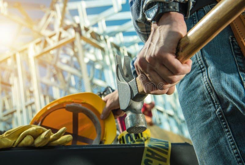 Bauarbeit-Tag stockfotos