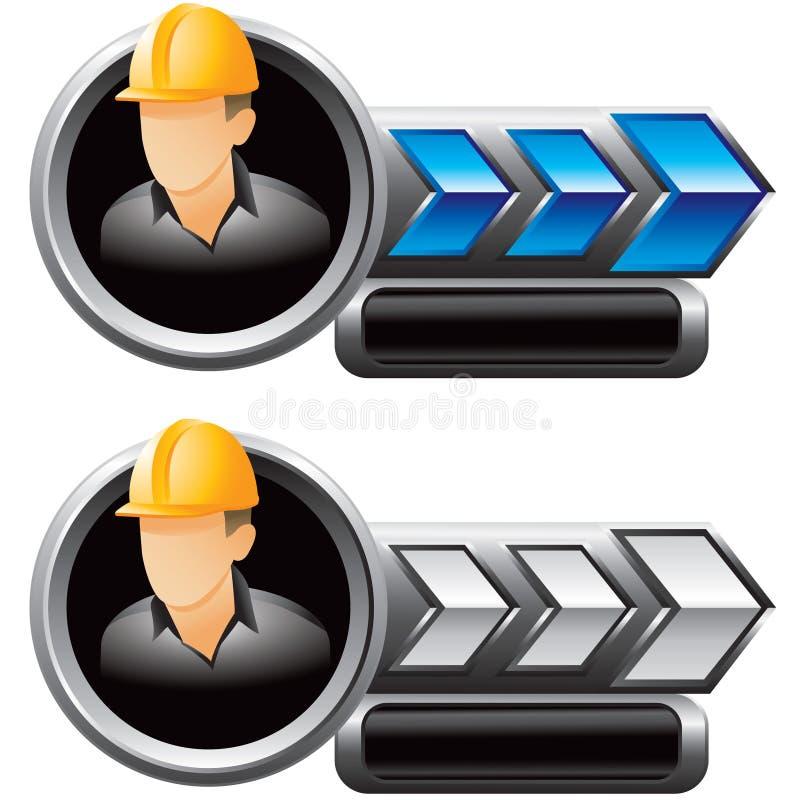 Bauarbeiter auf Blau- und Silberpfeilanzeigen lizenzfreie abbildung