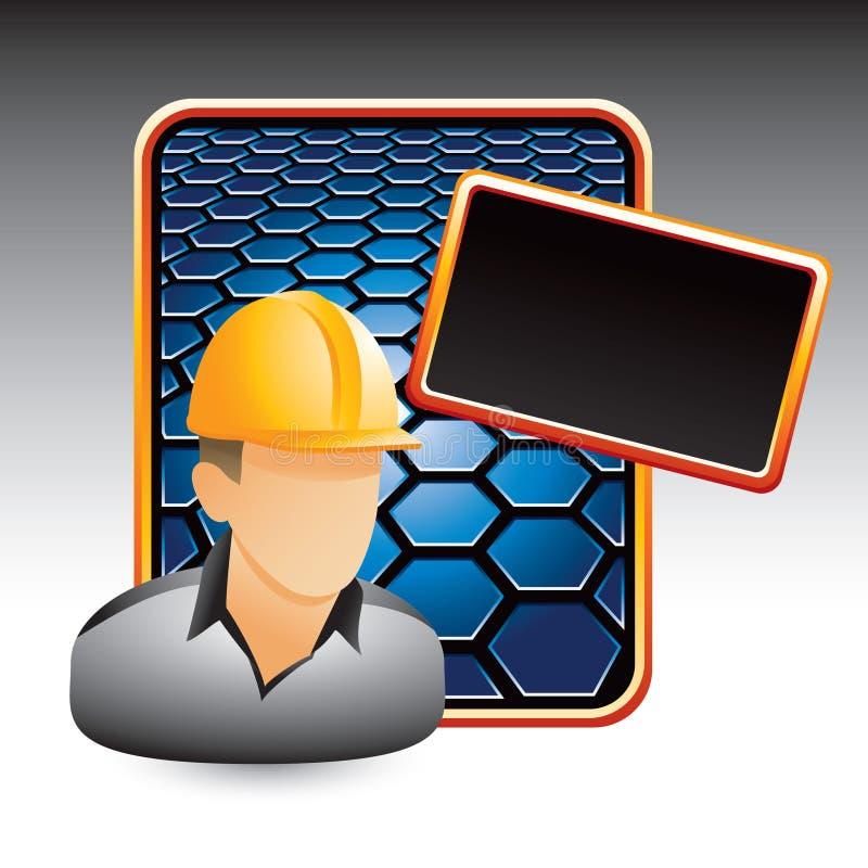 Bauarbeiter auf blauer Hexagonanzeige stock abbildung