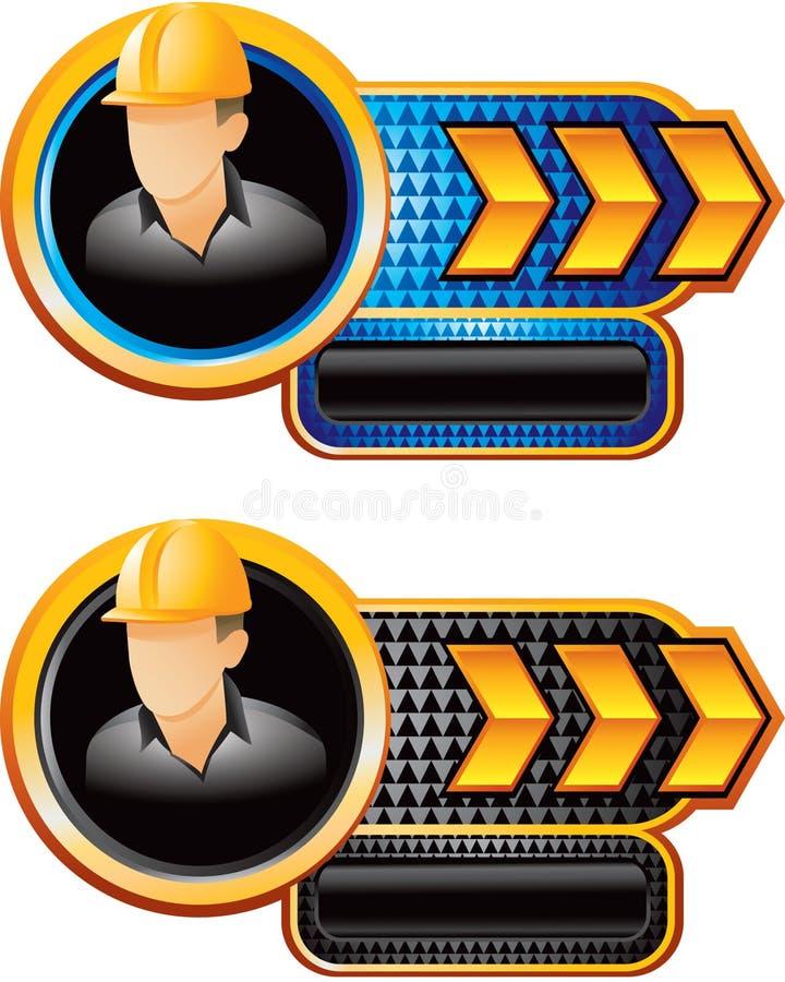 Bauarbeiter auf checkered Fahne des Goldpfeiles lizenzfreie abbildung