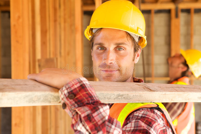 Bauarbeiter auf dem Job stockbilder
