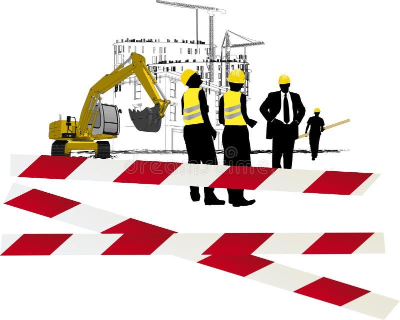 Bauarbeiter auf dem Job lizenzfreie abbildung