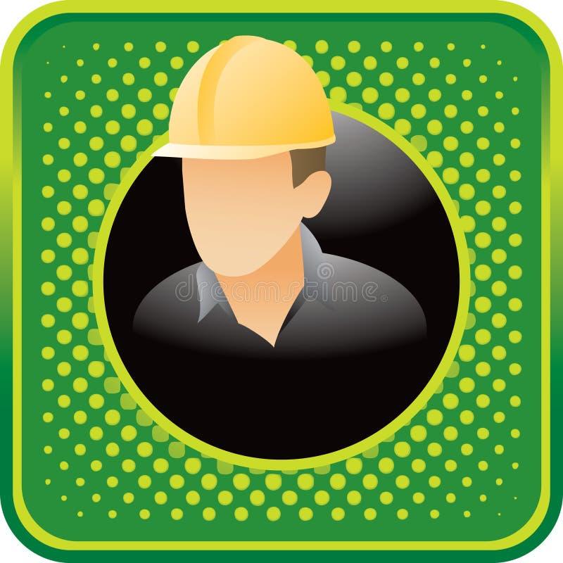 Bauarbeiter auf grüner Halbtonweb-Ikone vektor abbildung