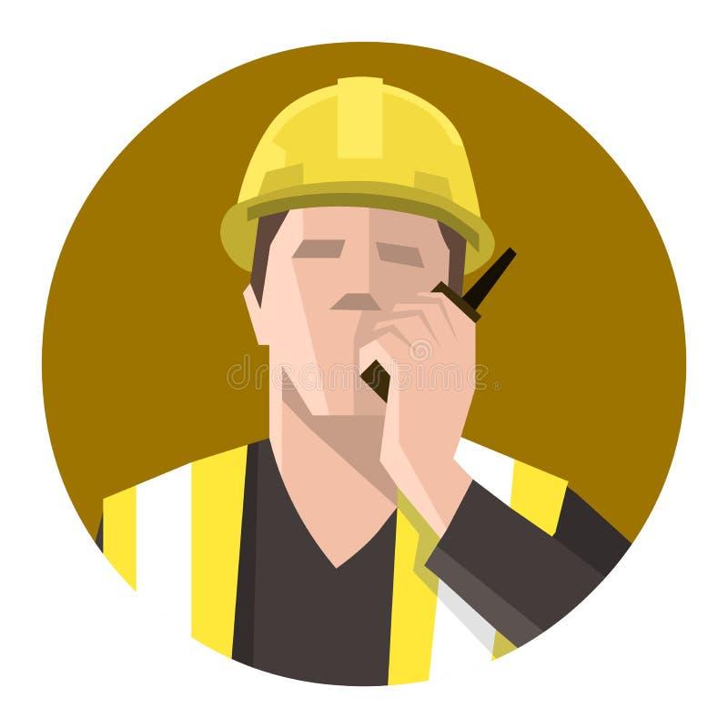 Bauarbeiter, der auf dem Radio spricht lizenzfreie abbildung