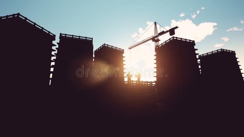 Bauarbeiter, der Lichtpausen betrachtet stock abbildung