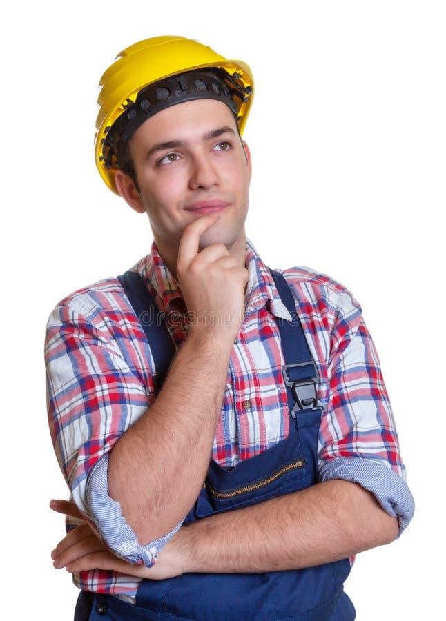 Bauarbeiter, der Pläne während der Zukunft macht lizenzfreies stockfoto