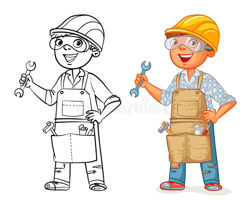 Bauarbeiter in der Uniform lizenzfreie abbildung