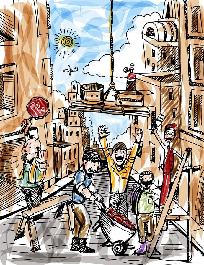 Bauarbeiter, die eine Stadt aufbauen lizenzfreie abbildung