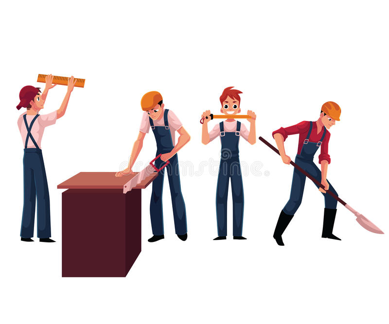 Bauarbeiter, Erbauer, die Sturzhelme und Overall, Sawing, Graben, messend tragen vektor abbildung