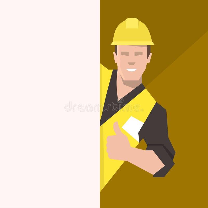 Bauarbeiter hinter der leeren Fahne, Daumen aufgebend Flache Vektorillustration vektor abbildung