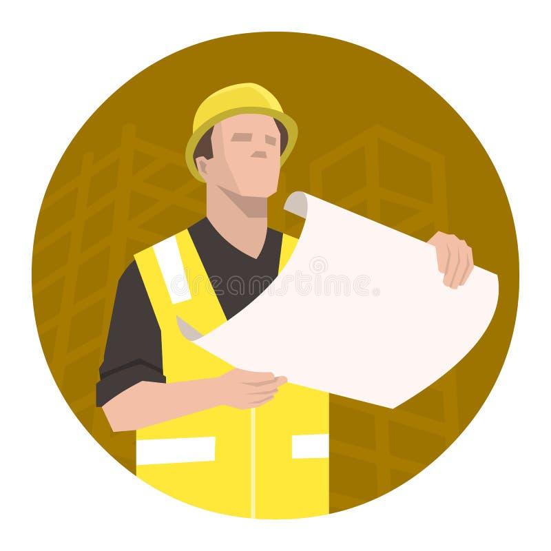 Bauarbeiter, Ingenieur oder Architekt, die den Projektplan betrachten lizenzfreie abbildung