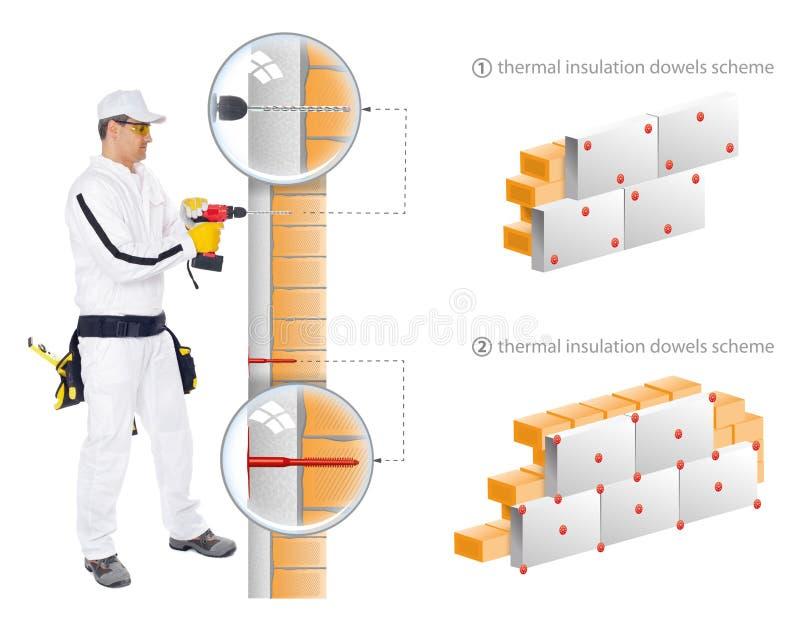 Bauarbeiter installieren Isolierung des Hauses stockbild