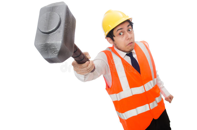 Bauarbeiter mit dem Hammer lokalisiert auf Weiß lizenzfreies stockbild