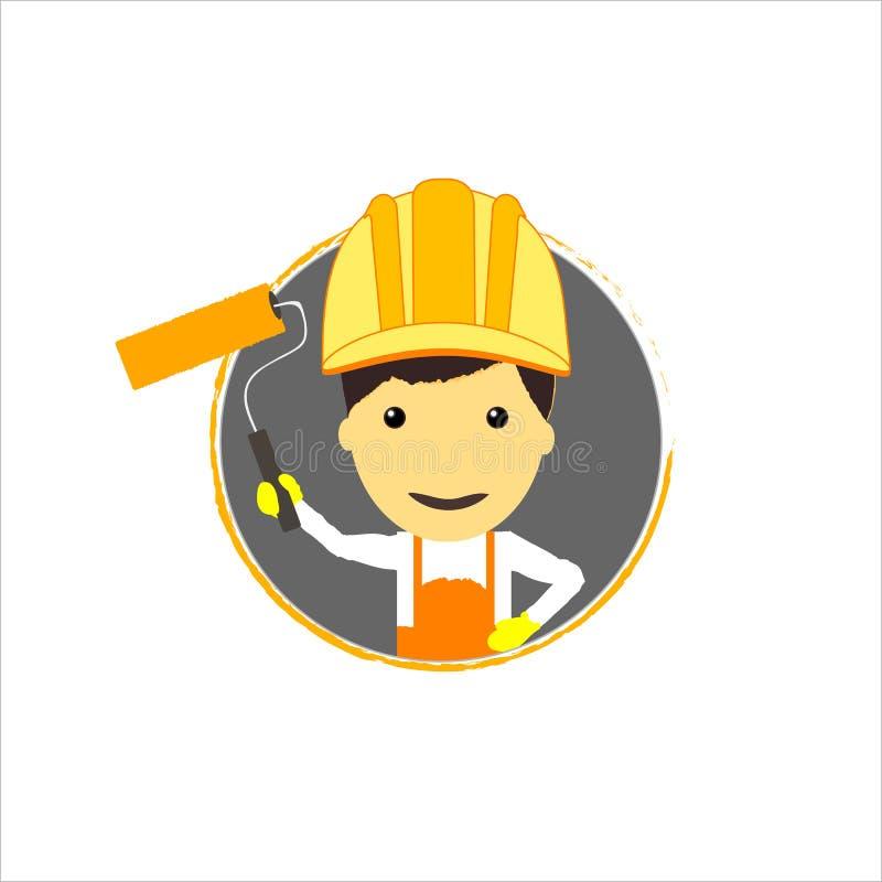 Bauarbeiter mit Rolle lizenzfreie abbildung