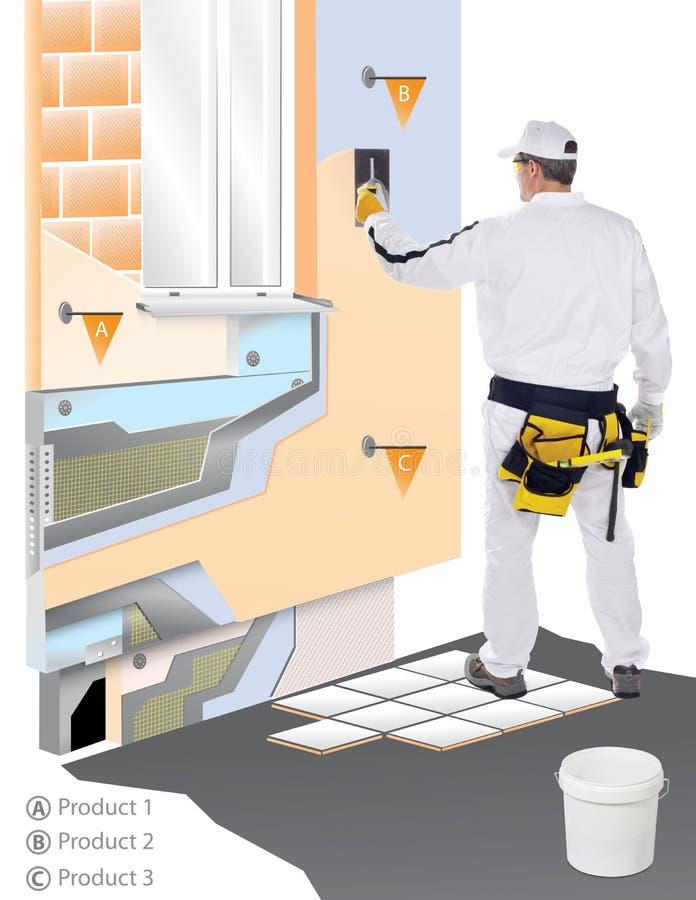 Download Bauarbeiter mit Trowel stockfoto. Bild von arbeiter, auslegung - 26361494