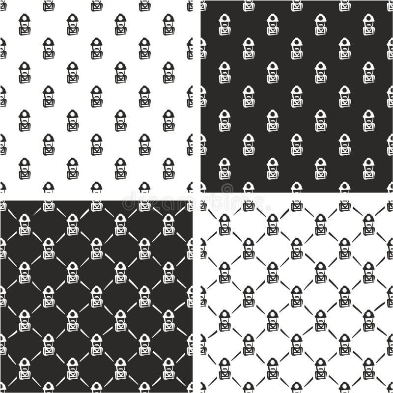 Bauarbeiter-oder Bergmann-Avatar Freehand Seamless-Muster-Satz stock abbildung
