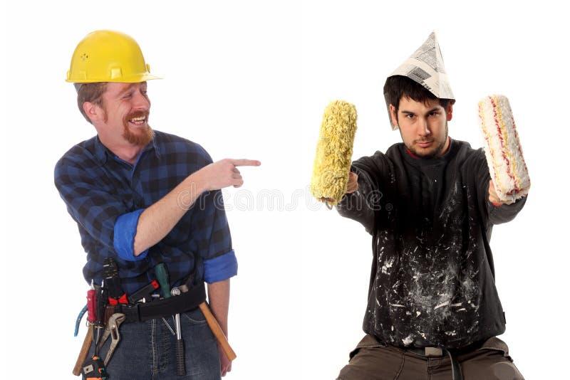 Bauarbeiter und Hausmaler lizenzfreie stockfotografie