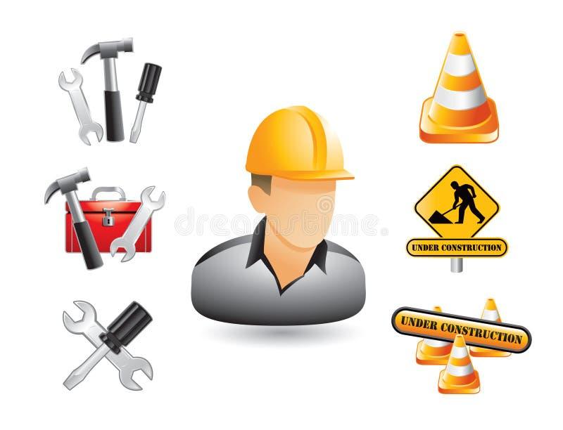 Bauarbeiter, Zeichen und Hilfsmittel stock abbildung