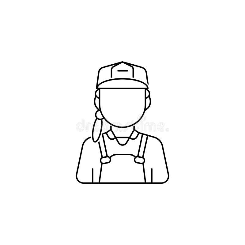 Bauarbeiterfrauen-Avataraikone lizenzfreie abbildung