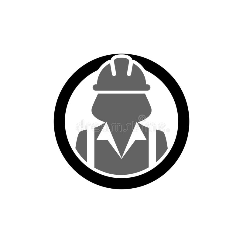 Bauarbeiterikone, weiblicher Service-Personenprofilavatara stock abbildung
