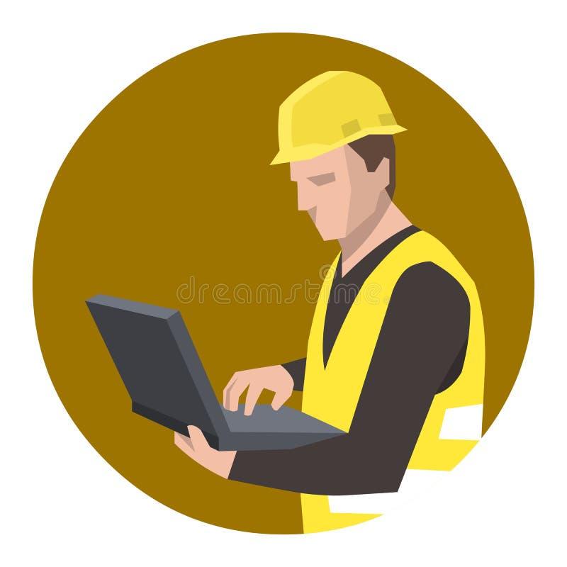 Bauarbeiteringenieur, der Laptop-Computer verwendet stock abbildung