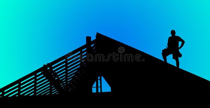Bauarbeiterschattenbild lizenzfreie stockbilder