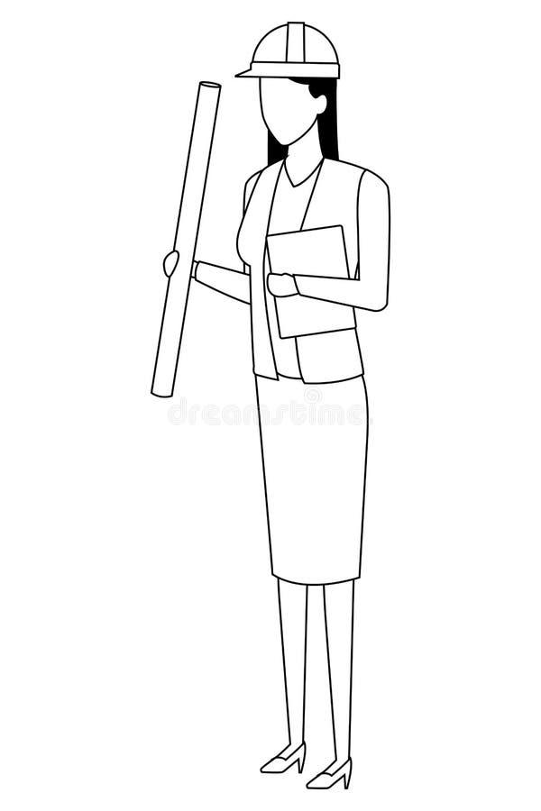 BauArbeitnehmerin-Arbeitskraftavatara in Schwarzweiss stock abbildung