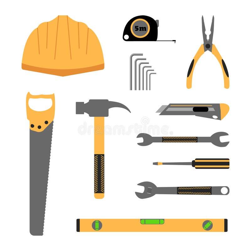 Bauarbeitsgerät-Ikonensatz stock abbildung