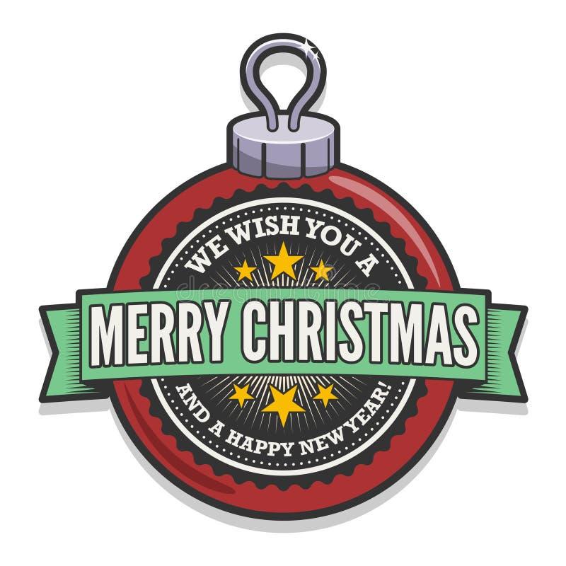 Bauble retro do Natal ilustração stock